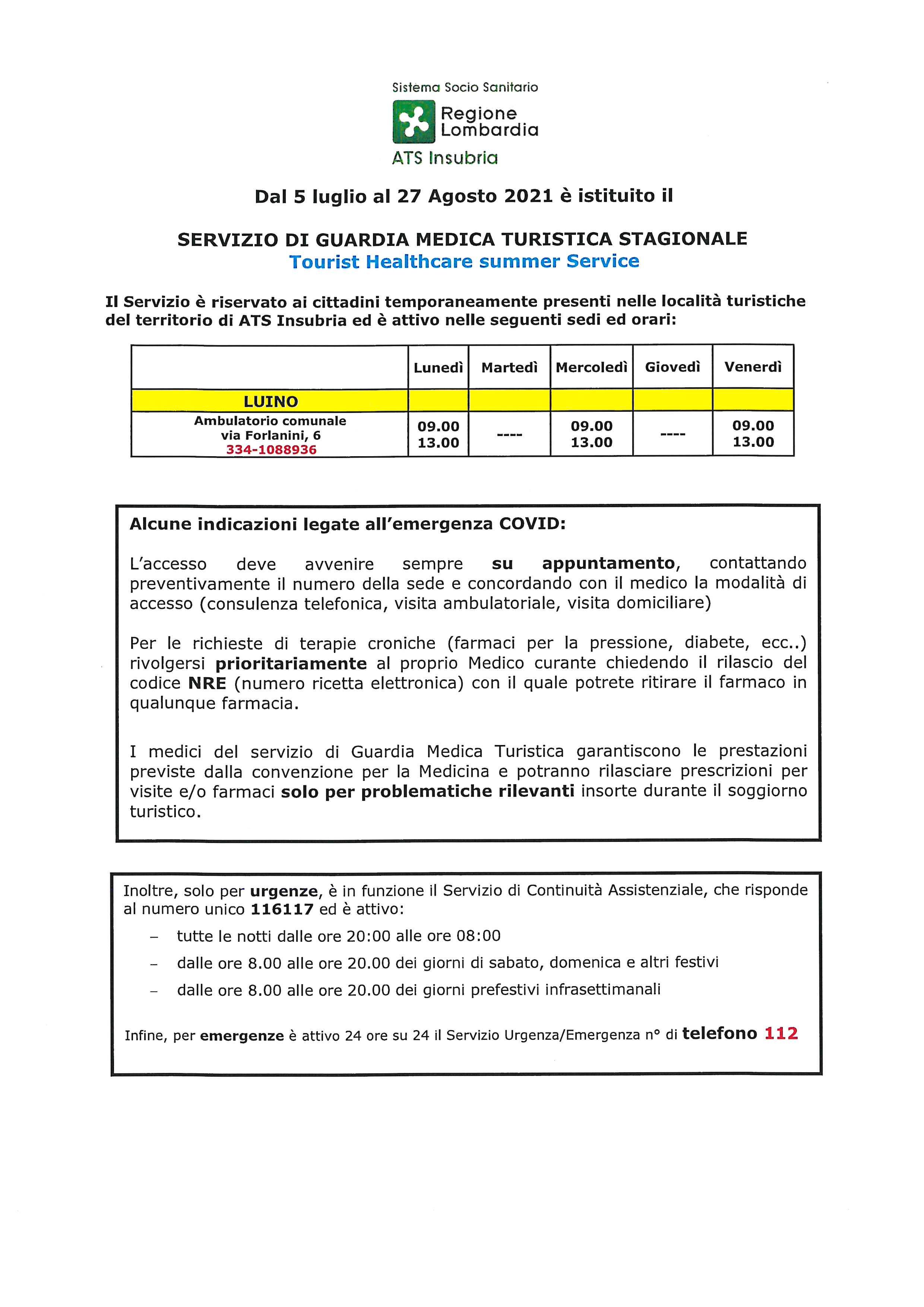 SERVIZIO DI GUARDIA MEDICA TURISTICA STAGIONALE DAL 5 LUGLIO AL 27 AGOSTO 2021