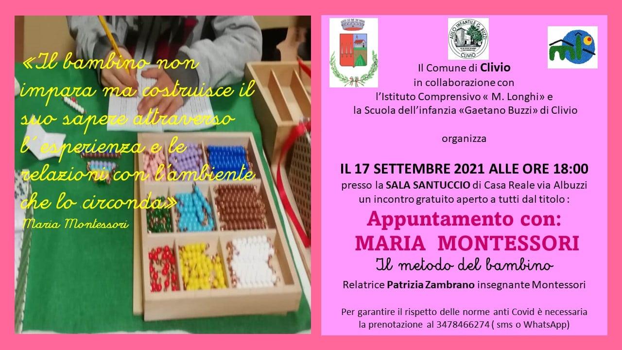 """Serata informativa """"Appuntamento con Maria Montessori: il metodo del bambino"""""""