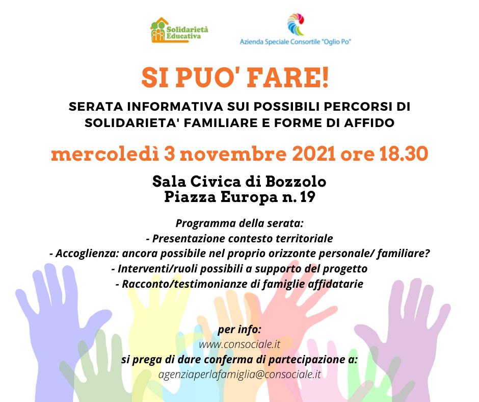 Solidarietà familiare e affido: nuovo incontro a Bozzolo